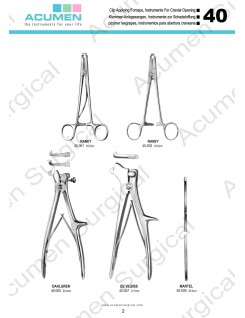 Clip Applying Forceps, Instruments for Cranial Opening