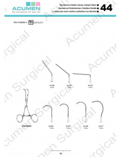 Neonatal and Pediatric Clamps, Delicate Pattern